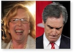 Elizabeth May and Michael Ignatieff - opposite reactions