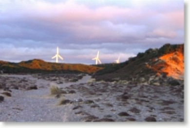 Ecovillage windmills near Findhorn Bay in Scotland